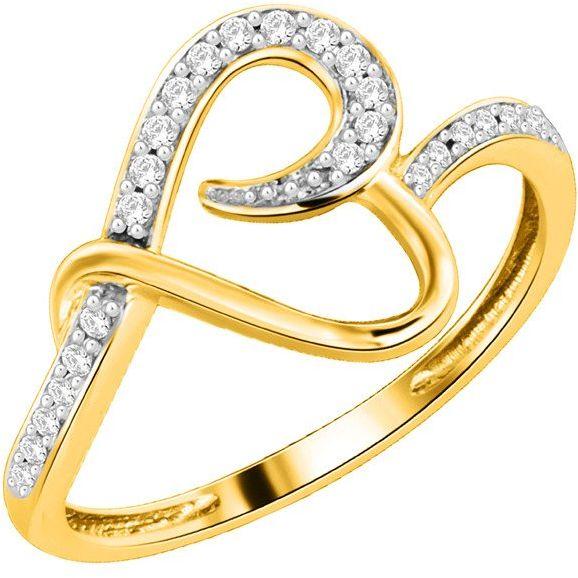 Złoty Pierścionek Zaręczynowy Serce z Brylantami