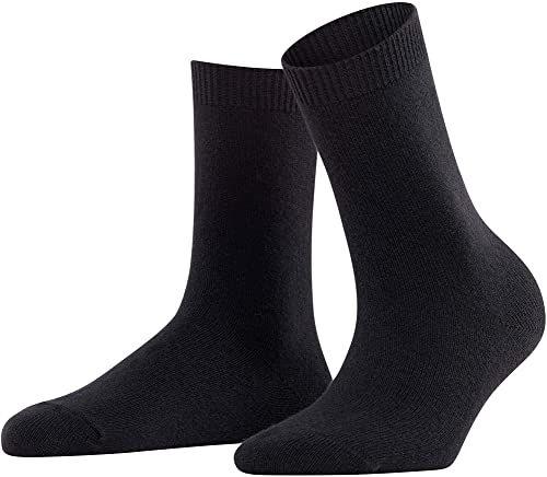 FALKE damskie przytulne skarpety wełniane - mieszanka wełny merynosowej/kaszmiru, czarne (czarne 3009), UK 5,5-8 (UE 39-42  US 8-10,5), 1 para