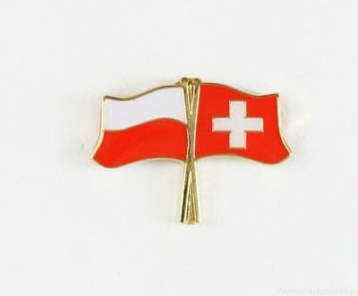 Flaga Polska - Szwajcaria, przypinka