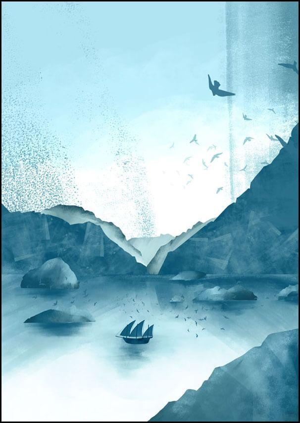 Wzgórza, statek - plakat wymiar do wyboru: 40x50 cm