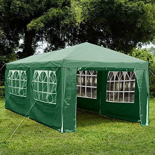 Garden Vida Pawilon z bocznymi panelami 3 x 6 m markiza z zamkiem błyskawicznym namiot imprezowy na zewnątrz ogród zadaszenie wodoodporny z wiatrakami, zielony