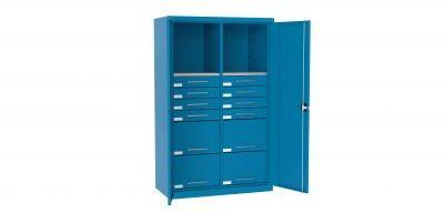 Szafa warsztatowa metalowa 2 półki 12 szuflad z drzwiami SL 165.15