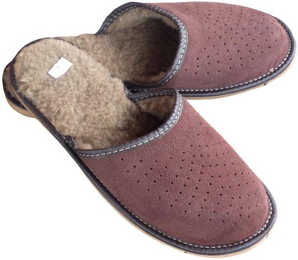 Ciepłe pantofle skórzane