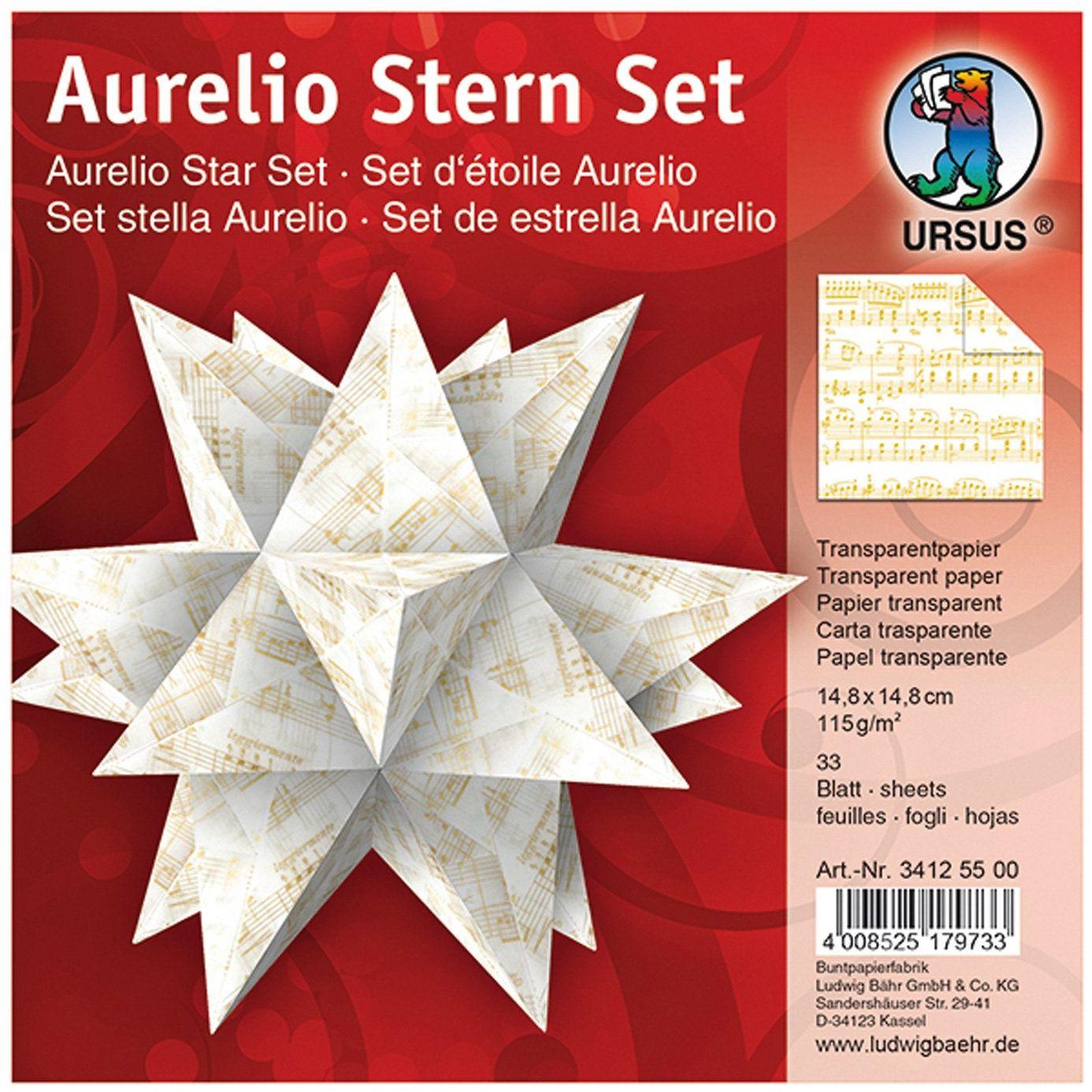Ursus 34125500 - kartki do składania Aurelio gwiazdy, przezroczysty papier, 14,8 x 14,8 cm, nuty
