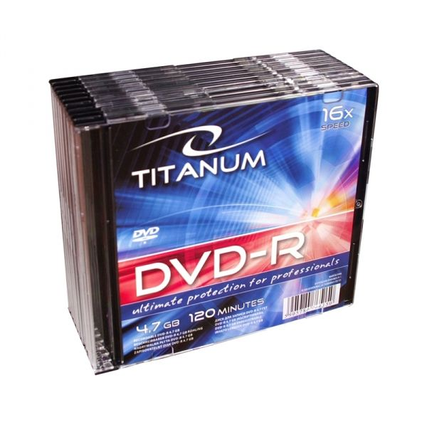 1284 DVD-R 4,7 GB X16 - Slim 10 sztuk Titanum