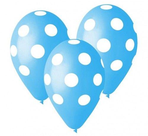 """Balony Premium 12"""", Błękitne w grochy, 5 szt."""