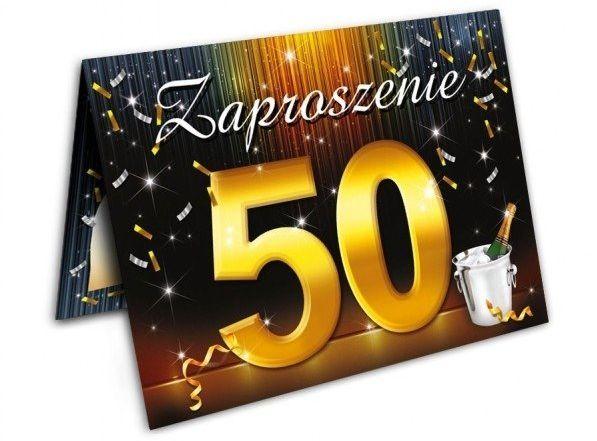 Zaproszenia na 50 urodziny z kopertami 10 sztuk ZX6801-10
