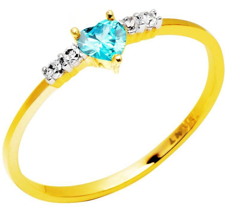 Złoty Pierścionek 585 Błękitne Serduszko