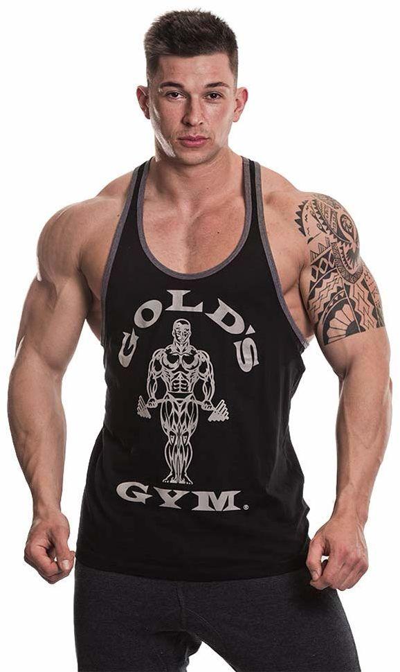 Gold''s Gym UK GGVST004 męskie treningi sportowe fitness tank top muskulatura Joe kontrastowa kamizelka strunowa, czarny/szary Marl, XXL