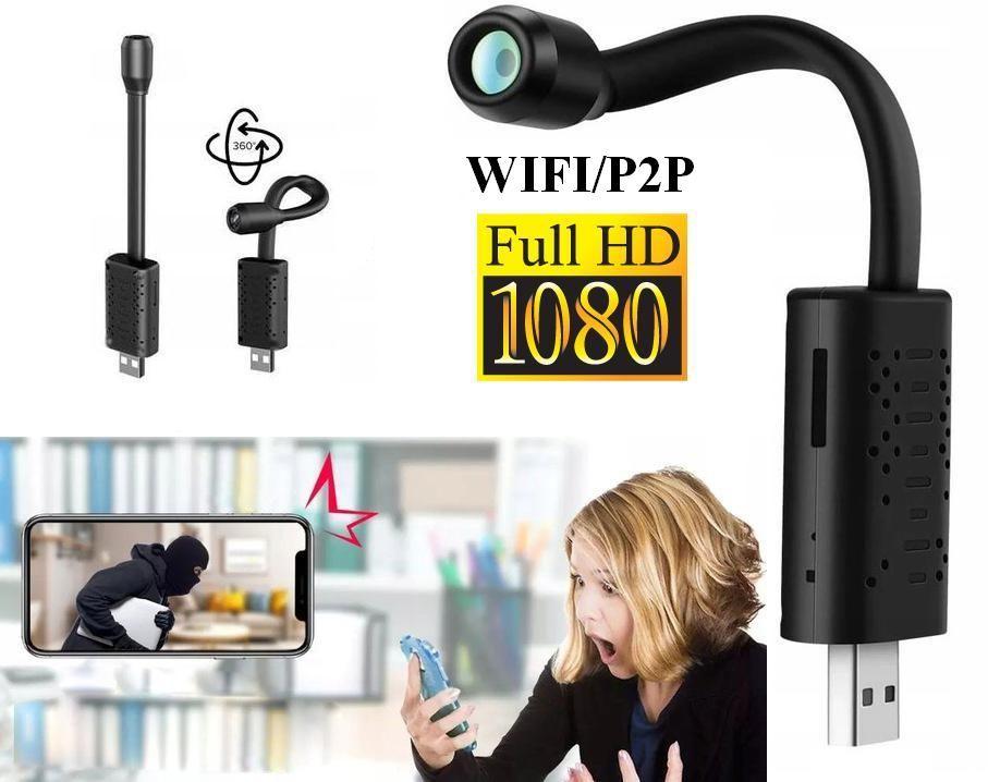 Szpiegowska Mini Kamera FULL HD (w giętkim kablu USB) WiFi/P2P (cały świat!) + Powiadomienia/Zapis..