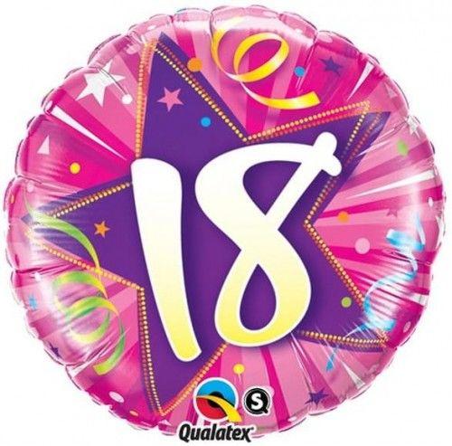 """Balon foliowy Osiemnastka, różowy, 18"""""""