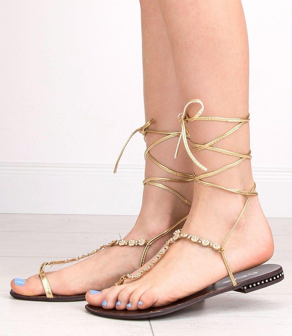 Sandałki damskie Fresko 070-2 Złote