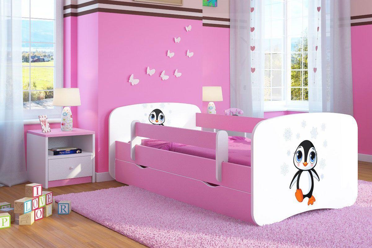 Łóżko dziewczęce z barierką Happy 2X mix 80x180 - różowe