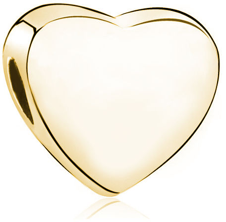 Pozłacany srebrny charms do pandora little beads gładkie serce serduszko heart srebro 925 LB006Y