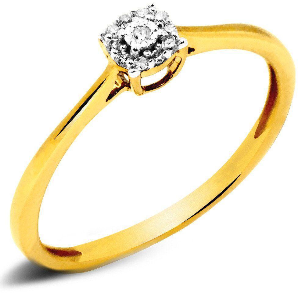 Pierścionek Złoty 585 Zaręczynowy z Brylantami