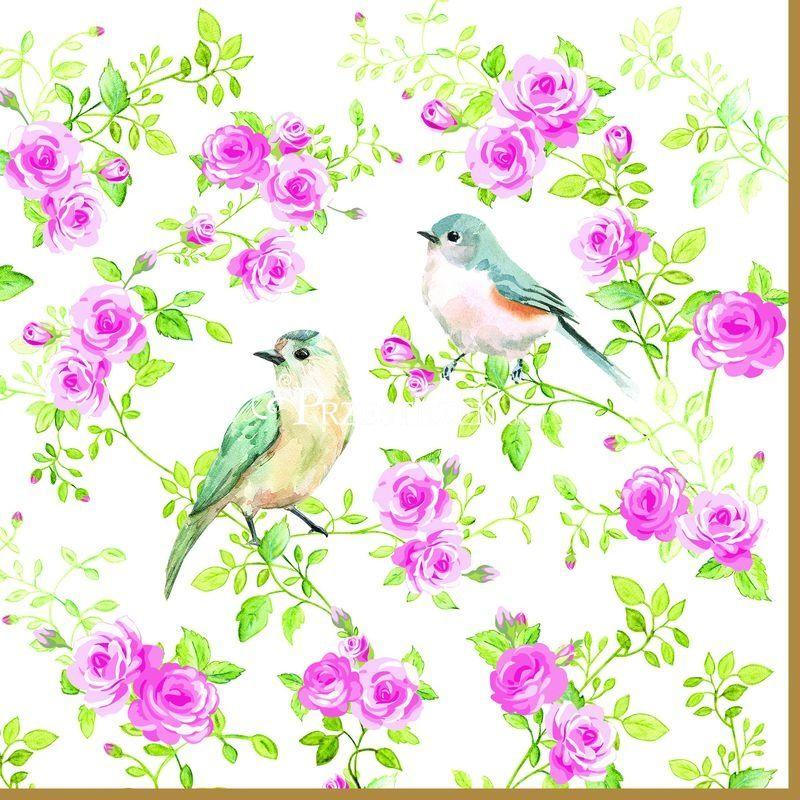 SERWETKI PAPIEROWE Spring - Wiosenne Ptaki i kwiaty