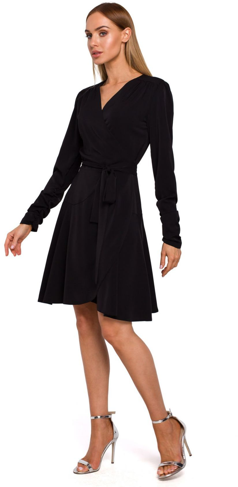 M487 Sukienka na zakładkę wiązana w pasie - czarna