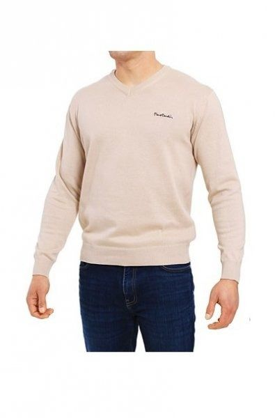 Sweter v-napis beżowy pierre cardin