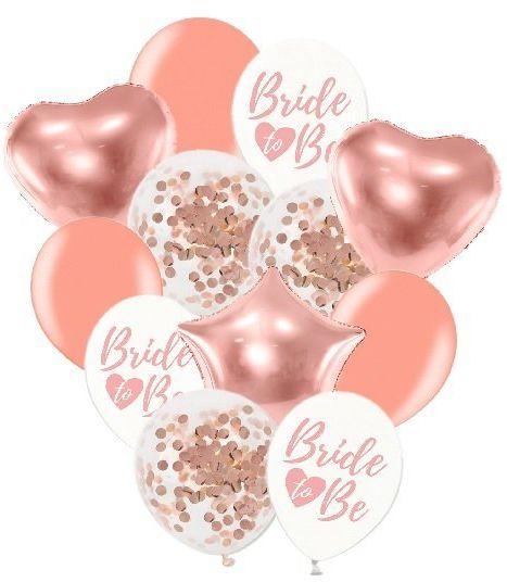 Balony na Wieczór Panieński różowe złoto 12 sztuk ZB41