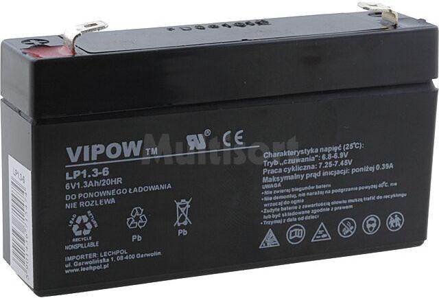 Akumulator kwasowo-ołowiowy VIPOW 6V 1,3Ah żywotność 5 lat