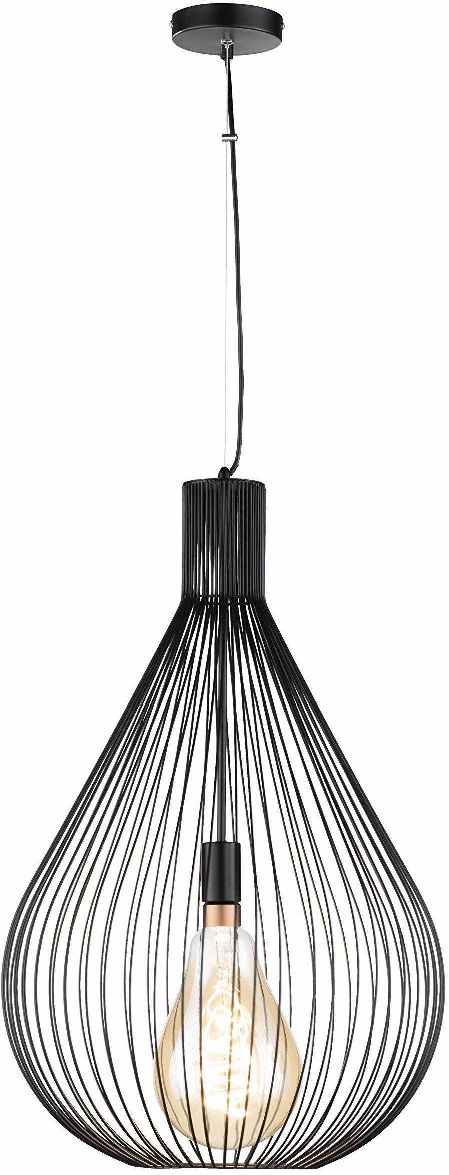 Fischer&Honsel Benett lampa wisząca, metal, 60 W, czarna