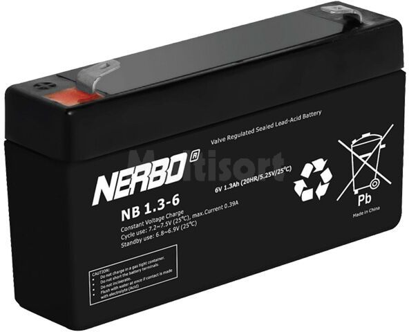 Akumulator kwasowo-ołowiowy NERBO 6V 1,3Ah żywotność 5 lat