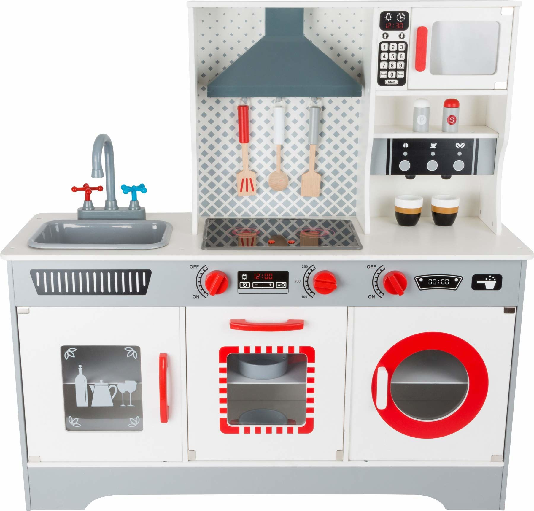 Small Foot 11081 Premium Play Kitchen wykonana z drewna, w tym ekspres do kawy, zmywarka, pralka i inne, dla dzieci od 3 lat zabawki, wielokolorowa