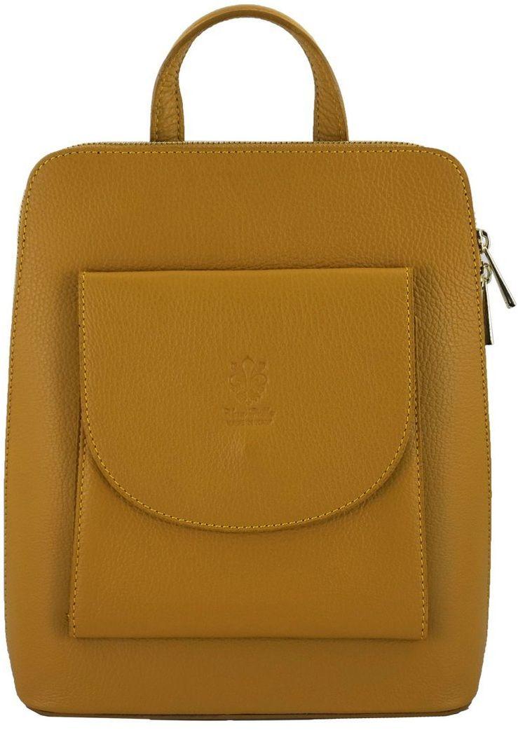 Plecak skórzany / listonoszka - Casual 2w1 - Żółty ciemny
