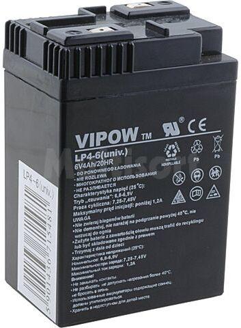 Akumulator kwasowo-ołowiowy VIPOW 6V 4Ah żywotność 5 lat