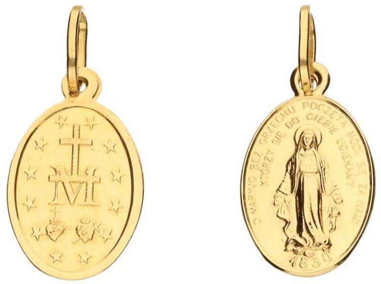Złoty medalik 333 owalny dwustronny Matka Boska 0,72 g