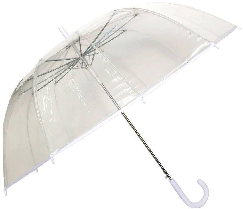 Smati - długi parasol - biała bordiura - przeźroczysty