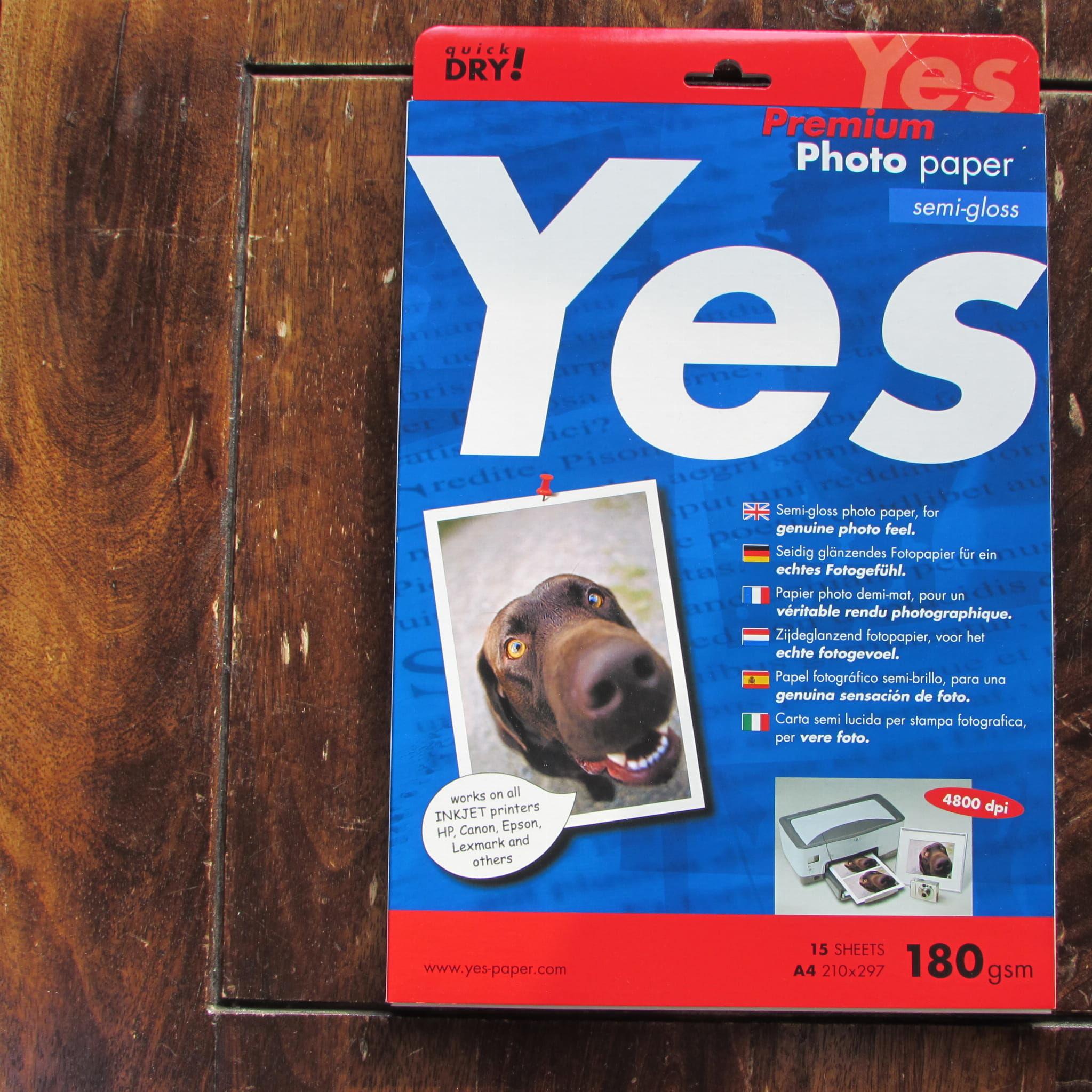 Papier fotograficzny Semi-Gloss Yes Premium Photo (biała) 180g A4, w paczce 15ark przecena - 45%