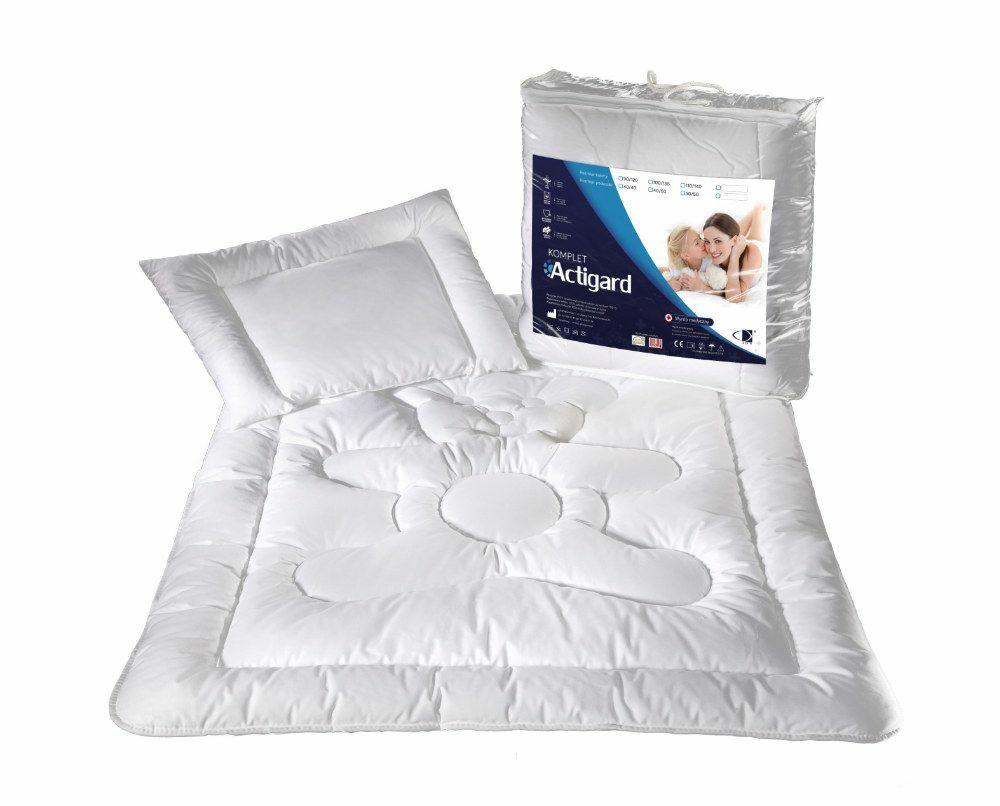 Kołdra dla dzieci 100x135 poduszka 40x60 Actigard 0,60 kg+0,20 kg biała 100% bawełna wykończona substancją antybakteryjną Actigard AMW