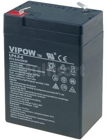 Akumulator kwasowo-ołowiowy VIPOW 6V 4,5Ah żywotność 5 lat