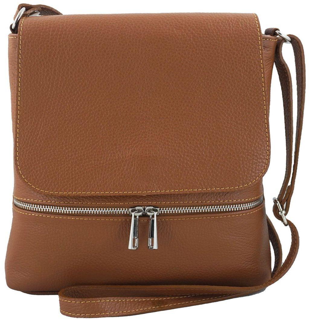 Skórzana torebka listonoszka z klapką - Brązowa jasna