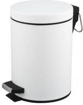 Kosz na śmieci biały do łazienki 5l Kosz na odpadki biały otwierany przyciskiem nożnym