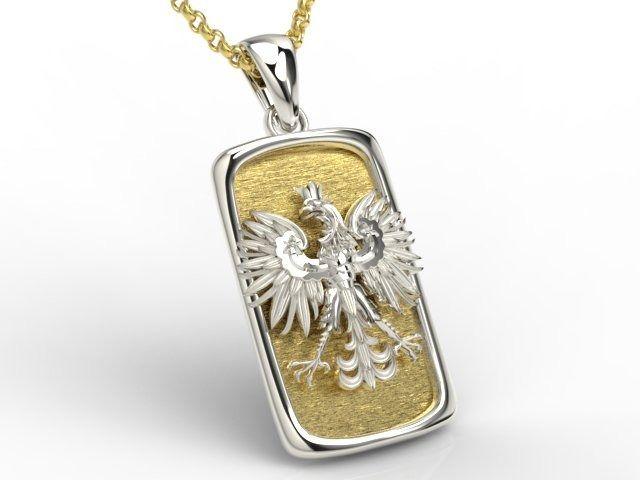 Wisiorek z białego i żółtego złota z orłem bpw-25bz