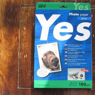 Papier fotograficzny Gloss Yes Photo (biała) 180g A4, w paczce 25ark przecena - 45%