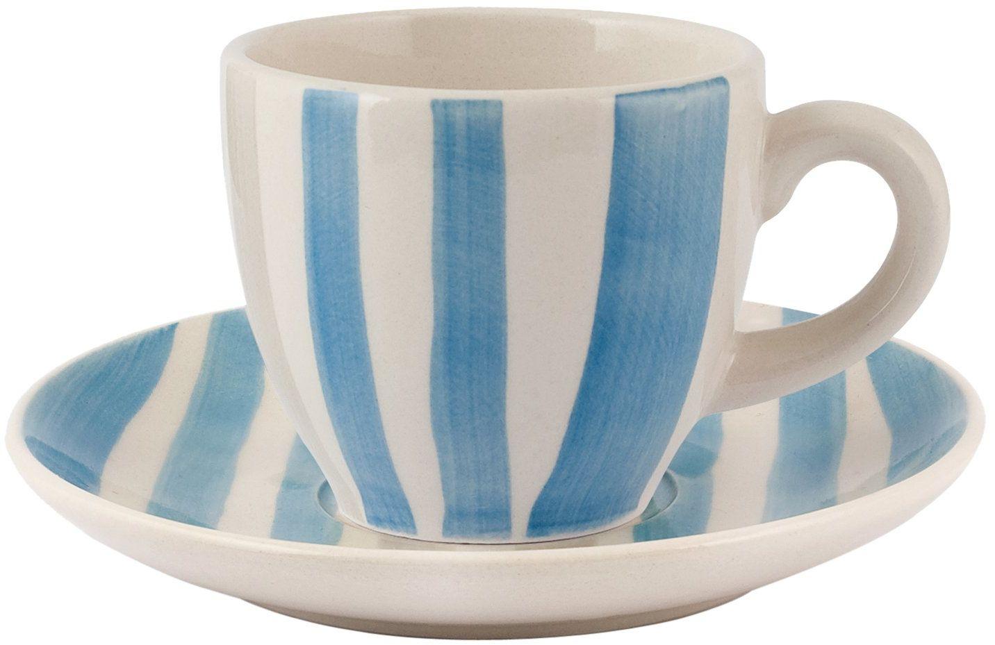 H&H Vela zestaw filiżanek do kawy z talerzem, kamionka, czerwony/niebieski, 100 ml, 6 sztuk