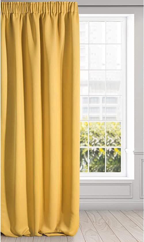 Eurofirany Logan zasłona zaciemniająca nieprzejrzysta satynowa marszczona firanka jednokolorowa 1 szt. nowoczesny pokój dzienny sypialnia pokój dziecięcy musztardowy żółty 135 x 270 cm