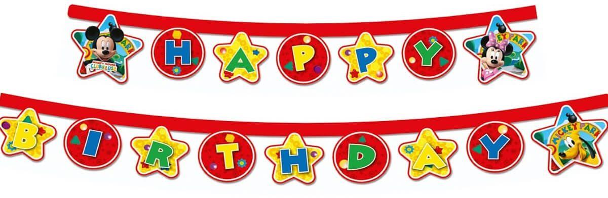 Baner urodzinowy Happy Birthday Myszka Mickey - 210 cm - 1 szt.