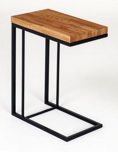 Stolik metalowy z drewnianym dębowym blatem - Functional