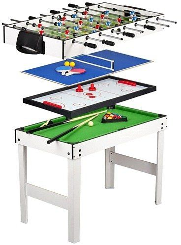 Duży stół do gry zręcznościowej, 4 gry (bilard, cymbergaj, tenis, piłkarzyki), 245900-gry drewniane
