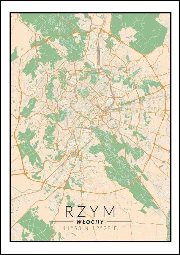 Rzym mapa kolorowa - plakat wymiar do wyboru: 40x60 cm