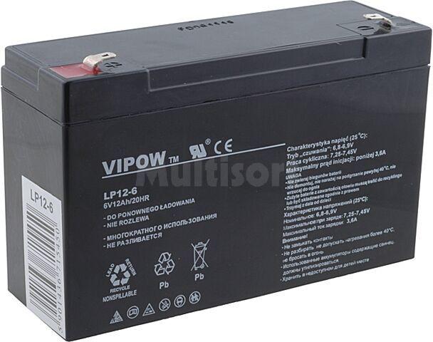 Akumulator kwasowo-ołowiowy VIPOW 6V 12Ah żywotność 5 lat
