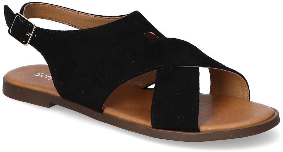 Sandały Sergio Leone SK060 Czarne zamsz