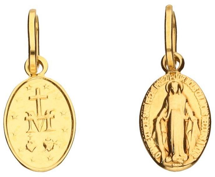 Złoty medalik 585 owalny Matka Boska 0,49 g