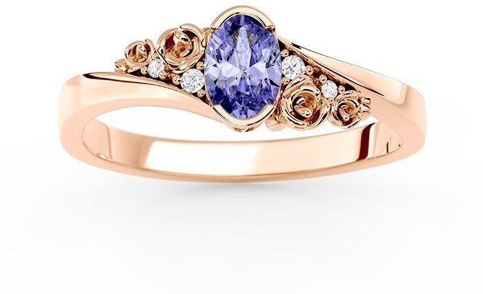 Pierścionek z różowego złota ap-39p z tanzanitem i diamentami 0,03 ct