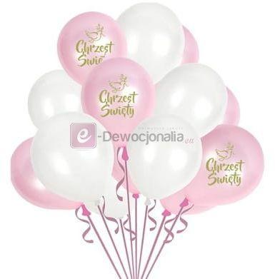 Zestaw balonów z okazji CHRZTU ŚWIĘTEGO baby pink