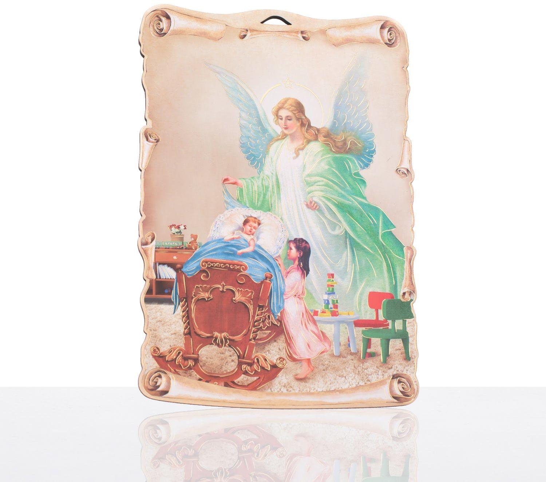 Anioł Stróż  obrazek religijny na desce